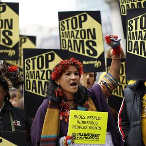 Protesters have gathered as far afield as London to demonstrate about plans to build dams in the Amazon region (AP)