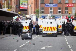 Press Eye - Belfast - Northern Ireland -   Sunday 2nd August  2012- Picture by Kelvin Boyes / Press Eye.Disturbance between Loyalists and Republicans at the Carlisle Circus area of north Belfast following a parade in the area.Loyalists protestors face police