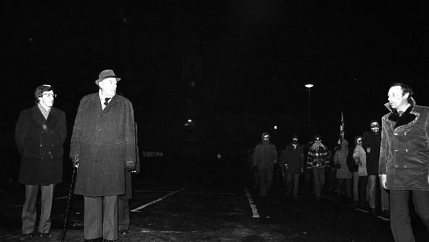 PACEMAKER BELFAST. THe third Force in Newtownards on Loyalist Day of Action. Third force men marched into Newtownards led by Ian Paisley. 23/11/81.1082/81/bw