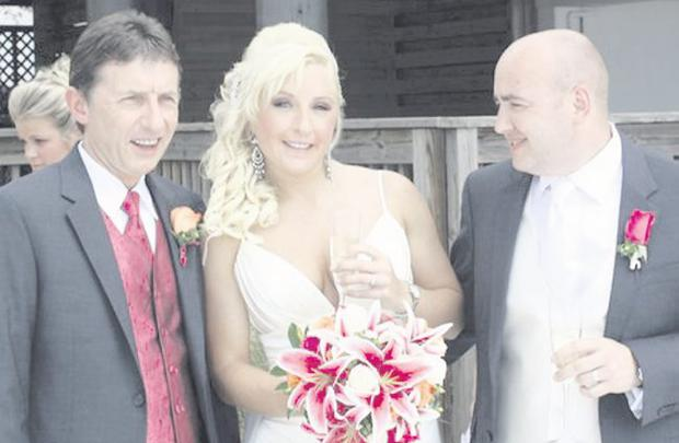 """Ciara with her father Eamonn (left) and husband Stephen on their wedding day in Clearwater, Florida  <p><b>To send us your Wedding Pics <a  href=""""http://www.belfasttelegraph.co.uk/usersubmission/the-belfast-telegraph-wants-to-hear-from-you-13927437.html"""" title=""""Click here to send your pics to Belfast Telegraph"""">Click here</a> </a></p></b>"""