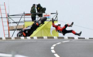 Steve Plater crashes out of the the second practice session on his HM Plant Honda at the Relentless North West 200