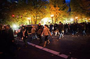 PORTLAND - NOVEMBER 13: Protesters march to Pioneer Square after being evicted from the Occupy Portland encampment in a downtown park November 13, 2011 in Portland, Oregon. Portland police have reclaimed the two parks in which occupiers have been camping after a night of brinksmanship with protesting crowds of several thousands. (Photo by Natalie Behring/Getty Images)