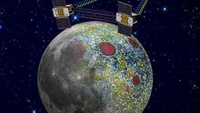 An artist rendering shows the twin Ebb and Flow spacecraft mapping the lunar gravity field (AP/Nasa, Jet Propulsion Laboratory)