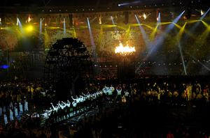 The Olympic Flame burns during the Olympic Games 2012 Opening Ceremony at the Olympic Stadium, London. PRESS ASSOCIATION Photo. Picture date: Friday July 27, 2012. See PA story OLYMPICS Ceremony. Photo credit should read: John Giles/PA Wire. EDITORIAL USE ONLY