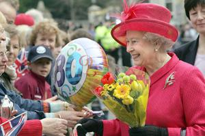 Britain's Queen Elizabeth II during a walkabout to celebrate her 80th birthday in Windsor.