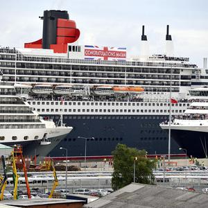 The Queen Victoria, Queen Mary 2 and Queen Elizabeth after sailing into Southampton for the first time today to mark the Diamond Jubilee (Cunard/PA)