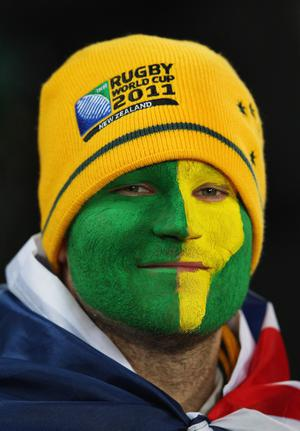 AUCKLAND, NEW ZEALAND - SEPTEMBER 17:  A Wallabies fan looks on during the IRB 2011 Rugby World Cup Pool C match between Australia and Ireland at Eden Park on September 17, 2011 in Auckland, New Zealand.  (Photo by Cameron Spencer/Getty Images)