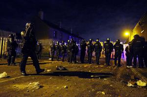 PSNI officers deal with disturbances in the Village area of south Belfast