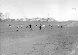 A view of the rear of the Ballymena Academy from the hockey playing fields, 1968.