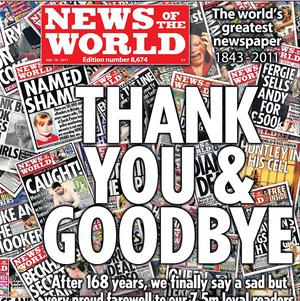 The front cover of the final edition of the News of the World newspaper (News International/PA)