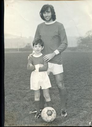 One of the images from a collection of George Best memorabilia which has been found in a bedroom wardrobe at a house in Worsley, Greater Manchester.Mike Preston starred in an advert with the footballing legend