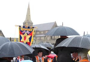 Pacemaker Press Belfast 08-07-2012: Orangemen gather to protest once again at Drumcree church. The traditional parade was prevented from proceeding down the Garvaghy Road in Portadown. Picture By: Arthur Allison.
