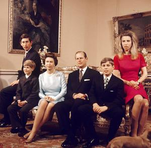 Prince of Wales 60th Birthday 20/11/72 of (left to right) the Prince of Wales, Prince Edward, Britain's Queen Elizabeth, the Duke of Edinburgh, Prince Andrew and Princess Anne. PRESS ASSOCIATION photo