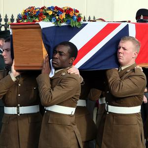 The coffin of Corporal Channing Day, who was killed in Afghanistan, is carried through Comber, Co Down
