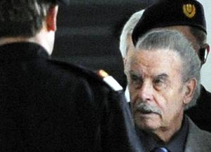 Josef Fritzl  is seen during a break on the second day of his trial at the country court of St. Poelten on March 17, 2009 in St. Poelten, Austria