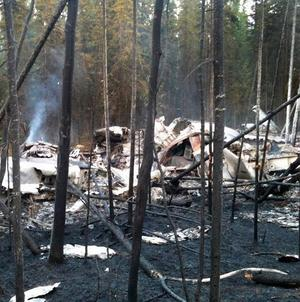 The scene of a plane crash in an Alaskan national park in which three men were killed