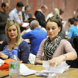 Counting begins at the counting centre at Sophia Gardens in Cardiff after the polls closed in the Welsh Assembly elections