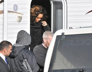 Press Eye - Belfast - Northern Ireland - 26 September 2011 -International singer Rihanna pictutred this afternoon at a field near Bangor, County Down, Northern Ireland where she was recording a video for one of her new songs.Mandatory credit:Picture by Stephen Hamilton/ Presseye.com