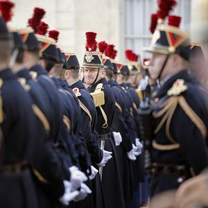 French Republican Guards at a meeting between the leaders of Pakistan and France (AP)