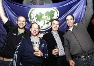 (Left to Right) Andrew Leonard, Stephen Moreton, Emmett Whaley and Brian O'Rourke from Pembroke Cricket Club celebrate Ireland's victory over England in their ICC Cricket World Cup match, during a post match party at Krystal night Club, Dublin