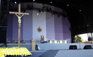The altar at Bellahouston Park, Glasgow, where Pope Benedict XVI will preside over an open-air mass on the first day of his four-day visit to the United Kingdom
