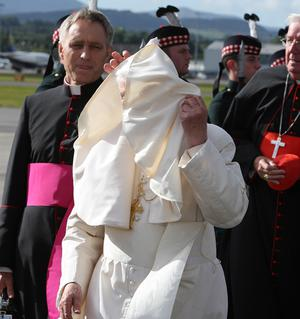 Pope Benedict XVI arrives in Edinburgh, Scotland, to begin the first papal state visit to the UK