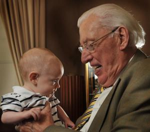 PAISLEY GREAT GRANDFATHERDr Ian Paisley MP Former Northern Ireland First Minister pictured with his first Great Grandchild Caleb Cassells (3 months). Caleb is the son of Ian Paisley's first Grandchild Lydia who is married to Stephen Cassells. He and his wife Baroness Paisley have 5 children and 10 Grandchildren.Photo John Harrison