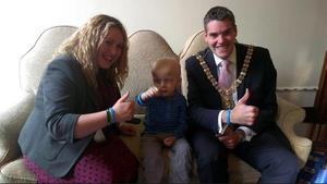 Sinn Fein Cllr Tierna Cunningham and Belfast Lord Mayor DUP Gavin Robinson with Oscar