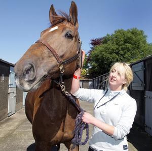 "Eilidh Duncan with her horse ""Flightpath"""