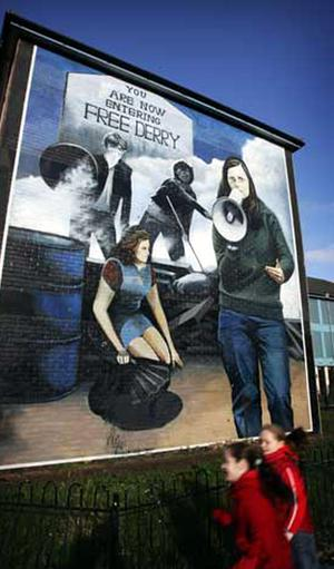 Bernadette McAliskey as portrayed in a mural on the side of a house in the Bogside area of Londonderry