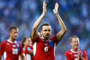 WROCLAW, POLAND - JUNE 12: Tomas Sivok of Czech Republic applauds the fans during the UEFA EURO 2012 group A match between Greece and Czech Republic at The Municipal Stadium on June 12, 2012 in Wroclaw, Poland  (Photo by Clive Mason/Getty Images)