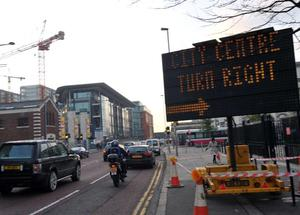 Pacemaker Press 9/11/09 Heavy traffic is exspected in Belfast City centre due to a road collapes on Cromac Street on satyrday that may take a week to repair Pic Colm Lenaghan/ Pacemaker