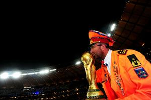 A Netherlands fan enjoys the atmopshere ahead of the 2010 FIFA World Cup South Africa Final match between Netherlands and Spain at Soccer City Stadium on July 11, 2010 in Johannesburg, South Africa