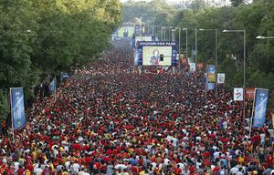 Supporters of the Spanish team attend a public viewing of the World Cup final football match between Spain and Netherlands at Paseo Recoletos on July 11, 2010 in Madrid, Spain