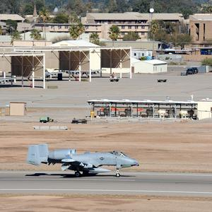 The Davis-Monthan Air Force Base near Tucson was locked down amid unconfirmed reports of gunfire (AP)