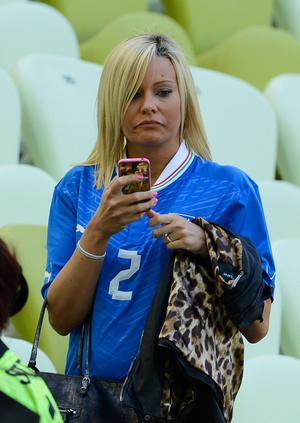 GDANSK, POLAND - JUNE 10:  Valeria Maggio, wife of Christian Maggio looks on during the UEFA EURO 2012 group C match between Spain and Italy at The Municipal Stadium on June 10, 2012 in Gdansk, Poland.  (Photo by Claudio Villa/Getty Images)