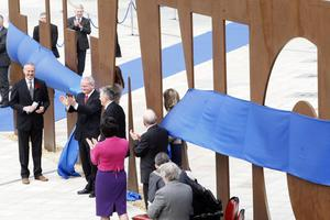 First minister Peter Robinson and Deputy First Minister Martin Mcguinness open the new Titanic Belfast tourism project to the public