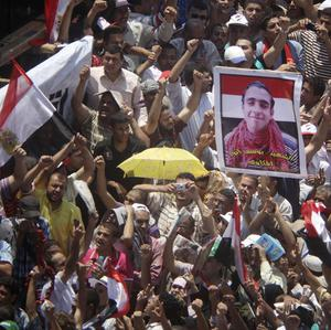 Protesters calling for democracy in Tahrir Square, Cairo (AP)