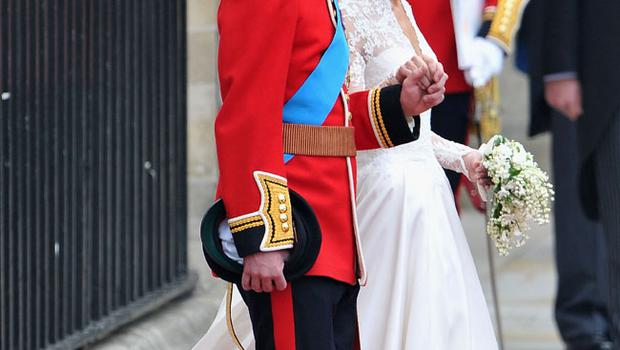 LONDON, ENGLAND - APRIL 29:  Their Royal Highnesses Prince William, Duke of Cambridge and Catherine, Duchess of Cambridge leave the Abbey before making the journey by carriage procession to Buckingham Palace following their marriage at Westminster Abbey on April 29, 2011 in London, England. The marriage of the second in line to the British throne was led by the Archbishop of Canterbury and was attended by 1900 guests, including foreign Royal family members and heads of state. Thousands of well-wishers from around the world have also flocked to London to witness the spectacle and pageantry of the Royal Wedding.  (Photo by Dan Kitwood/Getty Images)