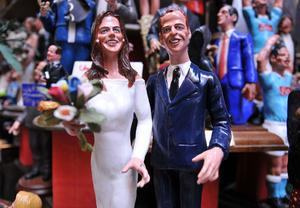 NAPLES, ITALY - APRIL 28:  The commemorative figurines depicting the royal marriage of Prince William and Catherine Middleton created by the artisan Genny Di Virgilio at San Gregorio Armeno on April 28, 2011 in Naples, Italy. (Photo by Laura Lezza/Getty Images)