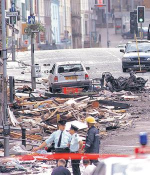 The scene of the Omagh Bomb