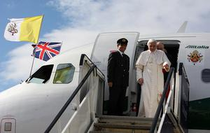 Pope Benedict XVI arrives in Scotland to begin the first papal state visit to the UK