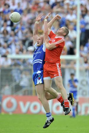 Tyrone's Kevin Hughes and Monaghan's Dick Clerkin