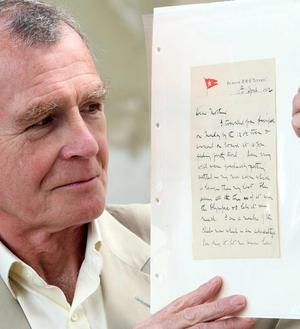 Dr John Martin the great-nephew of Dr John Simpson, who perished on the Titanic, holds a letter sent from the Titanic, in the old drawing rooms at Harland and Wolff, which will go on display this summer at the new Belfast visitors' centre dedicated to the liner.