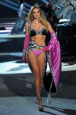 NEW YORK, NY - NOVEMBER 07:  Model Lily Donaldson walks the runway during the Victoria's Secret 2012 Fashion Show on November 7, 2012 in New York City.  (Photo by Bryan Bedder/Getty Images for SWAROVSKI ELEMENTS)
