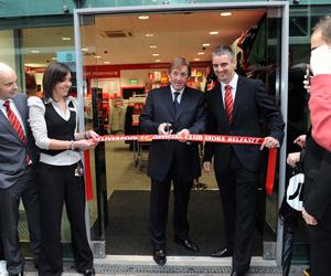 Liverpool legend Kenny Dalglish at the club's new superstore in Belfast