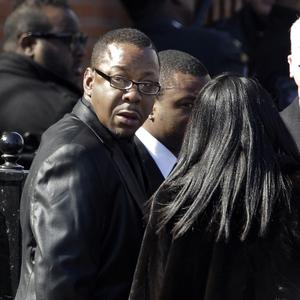 Singer Bobby Brown outside New Hope Baptist Church in Newark (AP)