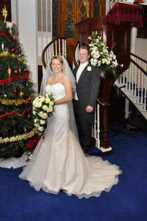 "Kirstie Bell and David Annett at their wedding reception in the Rosspark Hotel, Kells <p><b>To send us your Wedding Pics <a  href=""http://www.belfasttelegraph.co.uk/usersubmission/the-belfast-telegraph-wants-to-hear-from-you-13927437.html"" title=""Click here to send your pics to Belfast Telegraph"">Click here</a> </a></p></b>"