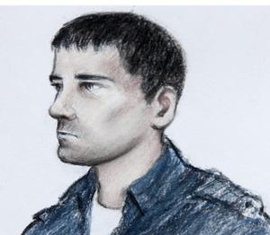 Court artist impression of Stephen Griffiths, 40 as he appears at Bradford Magistrates Court where he was charged with the murders of three prostitutes, Suzanne Blamires, 36, Shelley Armitage, 31, and Susan Rushworth, 43.