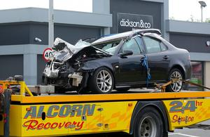 The car involved in the fatal road accident on the Dromore Road in Omagh